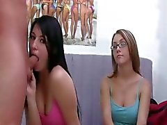 Young girls with glasses smoking dick