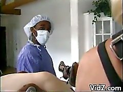 Pregnant brunette slut opens hard and fucked by latex nurses