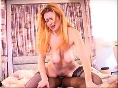 Redhead tries a big hard cock in hardcore video