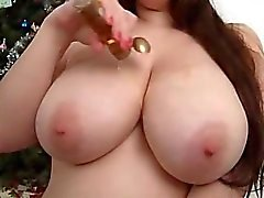 Busty 20yr old playing with 36HH boobs