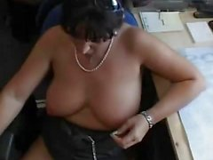 Busty milf drenched with warm jizz