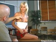 Schoolgirl gets a cock up her ass in the classroom