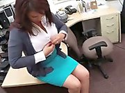 Huge boobs Milf sells her husbands stuff for his bail