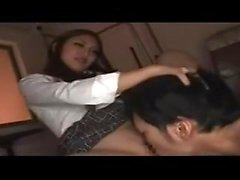 Asuka Hoshi Asian teen in school uniform enjoys giving head