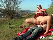 Blonde teen gets licked and fucked outdoors