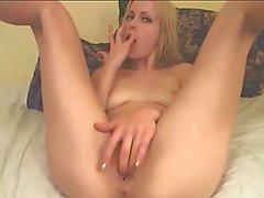 Horny babe rides her dildo