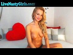 Busty blonde teen striptease