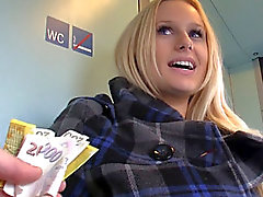 Gorgeous Czech amateur is paid cash to flash & fuck in public