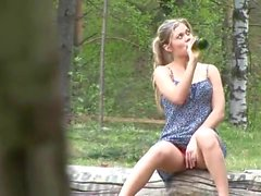 Blonde in short dress pisses outdoors