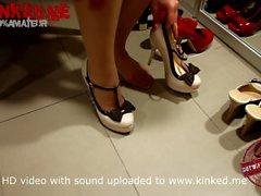 Shoejob slut showing her heeljob mules collection