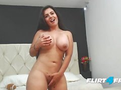 Sarah Harper Watches Her Big Tits Bounce as She Rides a Dildo
