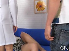 Cute bookworm is getting her pussy ravished by 2 guys