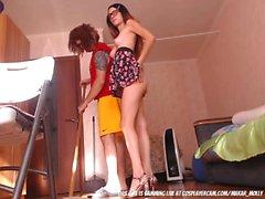 Skinny Little Slut Seducing The Cleaning Guy....