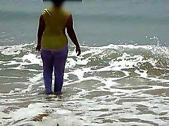 Desi Wife On Beach - Wet & Transparent Cloth