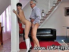 Naked UK schoolgirl taken from behind