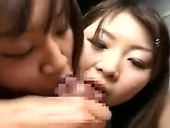 Insatiable Oriental girls sucking and jerking hard cocks to