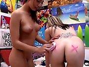 Hazed teen licks pussy