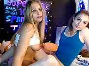 Brunette lesbian fingers a blonde who is very horny