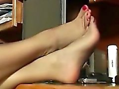Lady And Her Pantyhose Covered Feet