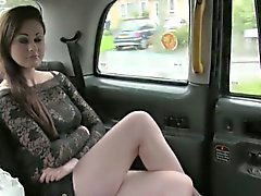 Beautiful British girl deep throats in fake taxi