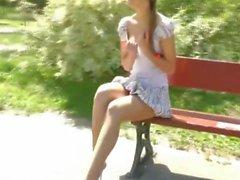 Tall Thin Blonde Walks Around In Public