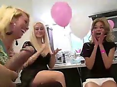 Blowjobs for strippers from group of CFNM amateurs