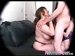 Teen prostitute and mature whore blowjob and swallow