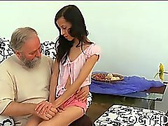 Astonishing young sweetie deepthroats old lustful dude