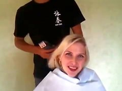 cute blonde shaves her head