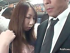 Cute asian babe gets her tits and pussy part1