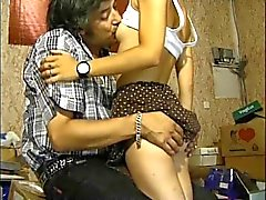 shy french brunette with a old man