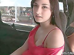 Brunette amateur teen taking the sex bus for a hot shag