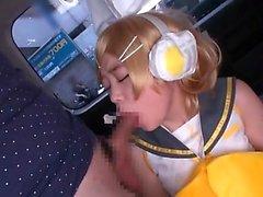 Japanese babe gives hand blowjob
