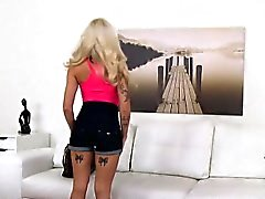 Tattooed petite blonde accepts sex for a job