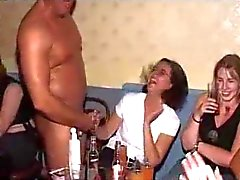 Wild party girls give blowjob