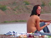 Martina Topless on a Beach