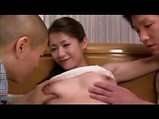 Beautiful Asian blowjob gangbang