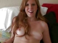 Redhead girlfriend has blindfolded sex