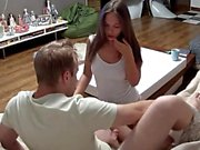 Cute teen Reina Yoshii hot blowjob and wild cumshot