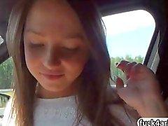 Naughty teen Foxy Di enjoys a backseat anal fucking