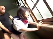 Asian teen girlfriend outdoor anal threesome with facial