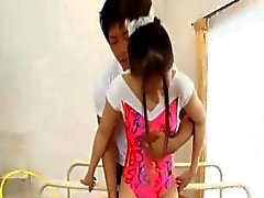 BJ on knees with asian teen
