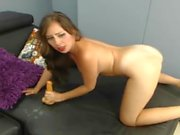 Brunette Babe With Large Tits Suck and Fuck a Dildo