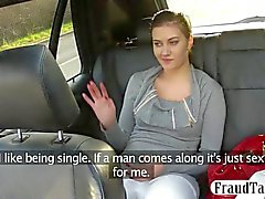 Big natural tits amateur flirts with her taxi driver