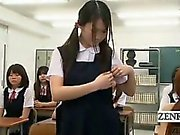 Subtitled CFNM Japan nudist student milf teacher strips