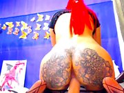 Solo redhead big ass babe toys her holes