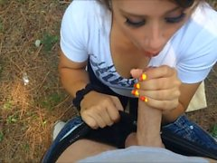 outdoor blowjob with messy facial