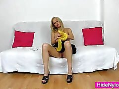 Leggy blonde beauty pervy nylon piss hole fetish