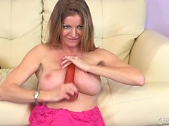 Hot Amber Michaels deepthroats a dildo and then sticks it in her cunt