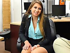 Sexy girl gives head and gets screwed at the pawnshop